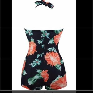 Floral One Piece Ruched Front Twist Swimsuit